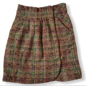 Odille Anthropologie Tweed Wrap Skirt